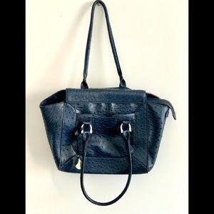 London fog faux ostrich leather navy blue handbag tote bag